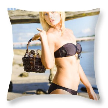 Hunting For Shells Throw Pillow