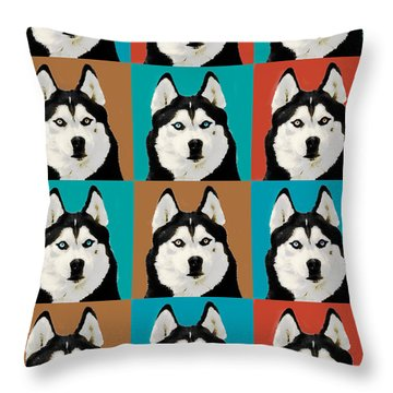 Husky Pop Art Throw Pillow