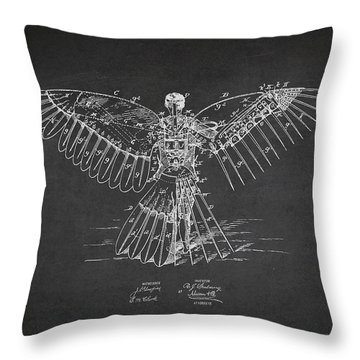 Icarus Flying Machine Patent Drawing Rear View Throw Pillow by Aged Pixel