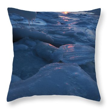 Icy Harbor Port Jefferson New York Throw Pillow by Bob Savage