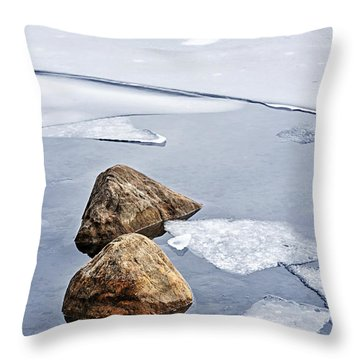 Icy Shore In Winter Throw Pillow