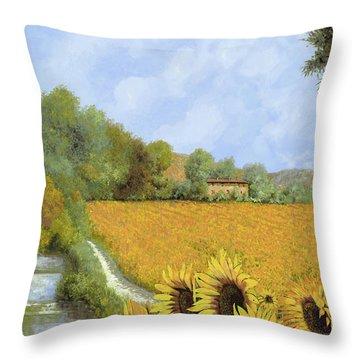 Il Mulino E I Girasoli Throw Pillow by Guido Borelli