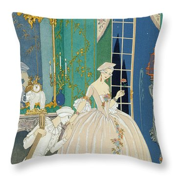 Illustration For 'fetes Galantes' Throw Pillow