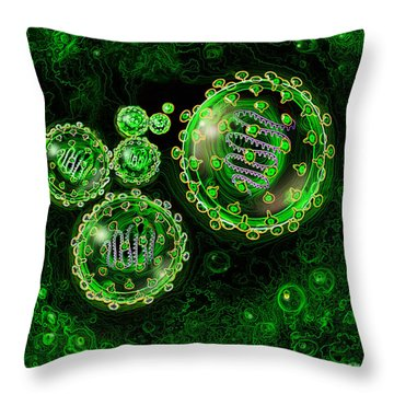 Illustration Of Sars Virus Throw Pillow by Jim Dowdalls