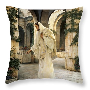 In His Constant Care Throw Pillow by Greg Olsen