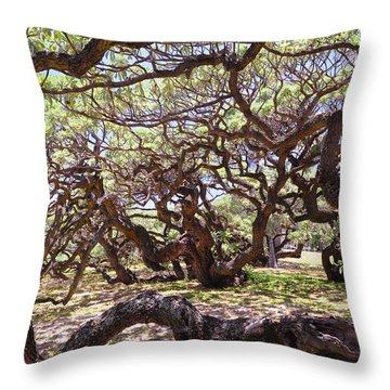 In The Depth Of Enchanting Forest Throw Pillow by Jenny Rainbow