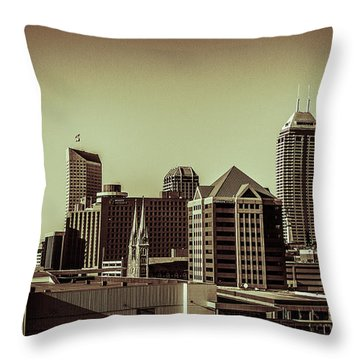 Indianapolis Skyline - Black And White Throw Pillow