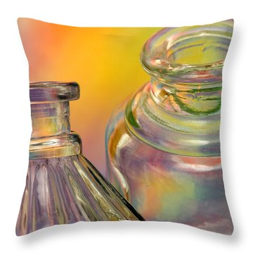 Ink Bottles On Color Throw Pillow
