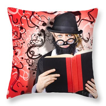 Intelligent Man Conducting Business Research Throw Pillow