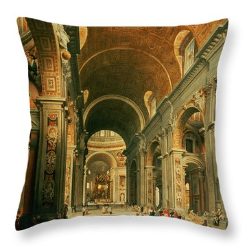 Interior Of St Peters In Rome Throw Pillow by Giovanni Paolo Panini