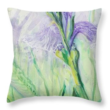 Throw Pillow featuring the painting Iris Number Three by Cathy Long