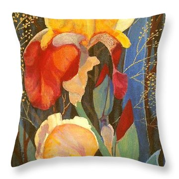 Throw Pillow featuring the painting Irises by Marina Gnetetsky