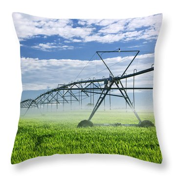Irrigation Equipment On Farm Field Throw Pillow