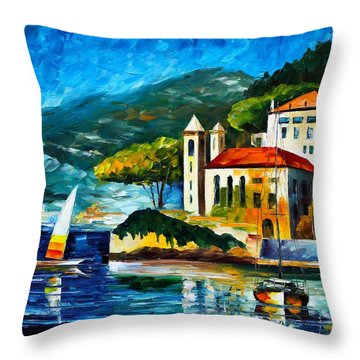 Italy Lake Como Villa Balbianello Throw Pillow by Leonid Afremov