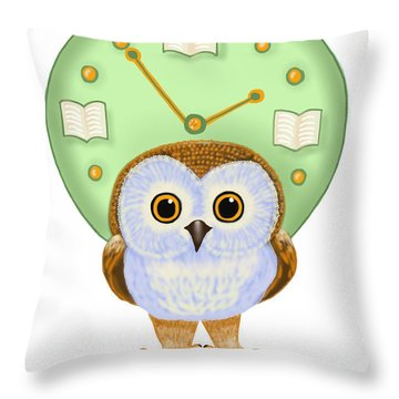 Throw Pillow featuring the painting It's Read O'clock by Leena Pekkalainen