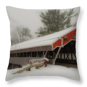 Jackson Nh Covered Bridge Throw Pillow