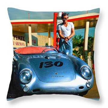 James Dean Filling His Spyder With Gas Throw Pillow