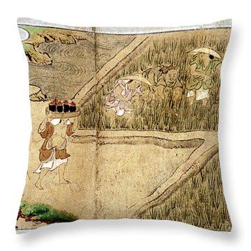 Japan Rice Farming Throw Pillow