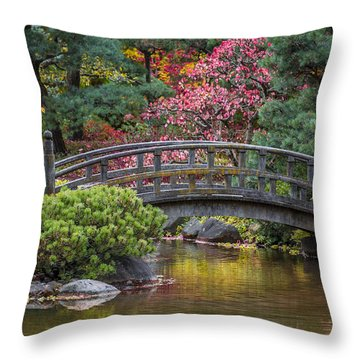 Japanese Bridge Throw Pillow by Sebastian Musial