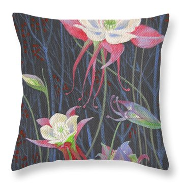 Japanese Flowers Throw Pillow by Marina Gnetetsky