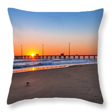 Jennettes Pier Throw Pillow by Mary Almond