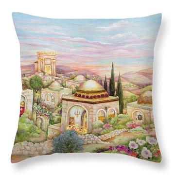 Jerusalem Landscape Throw Pillow by Michoel Muchnik