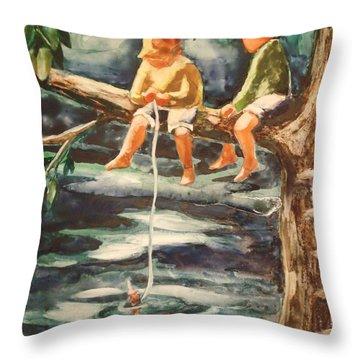 Jes Fishin Throw Pillow by Marilyn Jacobson