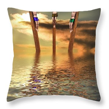 Jesus And Two Thieves On The Cross Throw Pillow