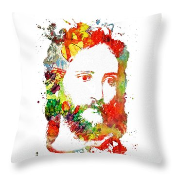 Jesus Christ - Watercolor Throw Pillow by Doc Braham