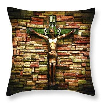 Jesus Is His Name Black Border Throw Pillow