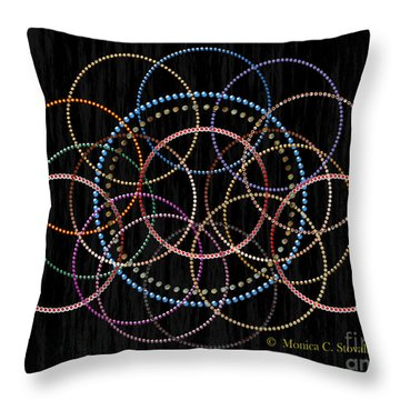 Jeweled Kaleidoscope On Black Throw Pillow
