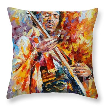 Jimi Hendrix Throw Pillow by Leonid Afremov