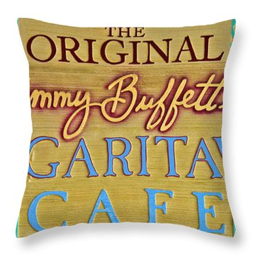 Jimmy Buffetts Margaritaville Cafe Sign The Original Throw Pillow