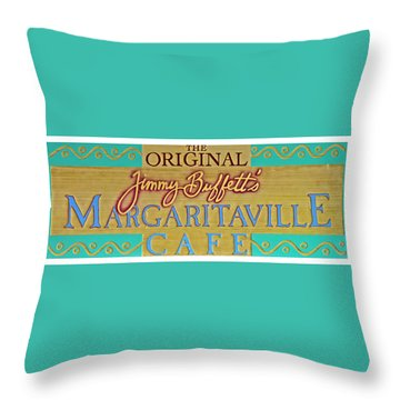 Jimmy Buffetts Margaritaville Cafe Sign The Original Throw Pillow