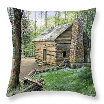 John Ownby Cabin  Throw Pillow by Bob  George