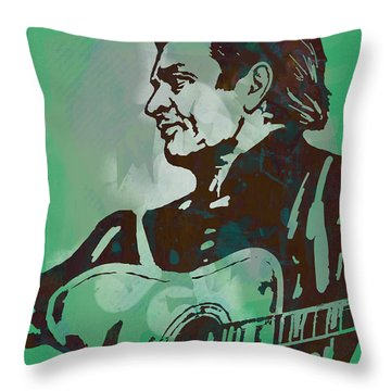Johnny Cash - Stylised Etching Pop Art Poster Throw Pillow by Kim Wang