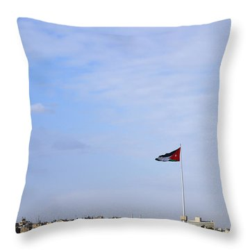 Jordanian Flag Flying Over The City Of Amman Jordan Throw Pillow by Robert Preston