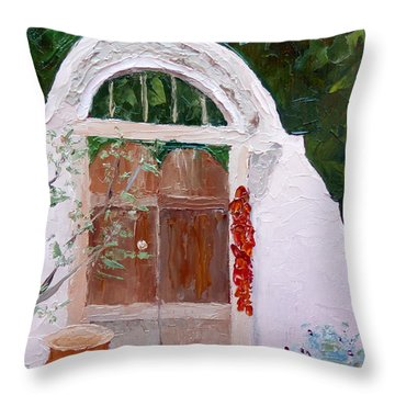 Josefina's Gate Throw Pillow by Susan Woodward
