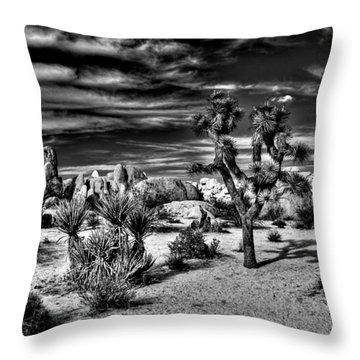 Throw Pillow featuring the photograph Joshua Tree Black And White by Benjamin Yeager
