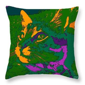 Throw Pillow featuring the digital art Jungle Cat by Hanza Turgul
