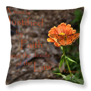 Justified By Faith Throw Pillow