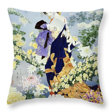 Kiku Throw Pillow by Haruyo Morita