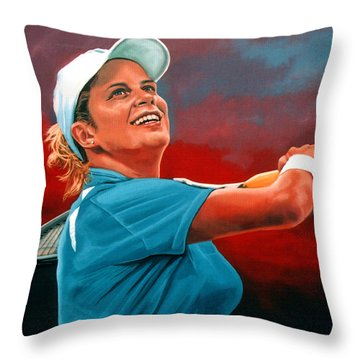 Kim Clijsters Throw Pillow by Paul Meijering