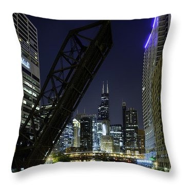 Kinzie Street Railroad Bridge At Night Throw Pillow by Sebastian Musial