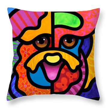 Dog Abstract Art Throw Pillows