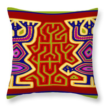 Throw Pillow featuring the digital art Kuna Bird Spirits by Vagabond Folk Art - Virginia Vivier
