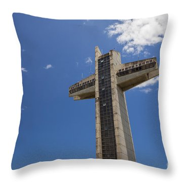 Throw Pillow featuring the photograph La Cruz Del Vigia Against Blue Sky In Ponce Puerto Rico by Bryan Mullennix