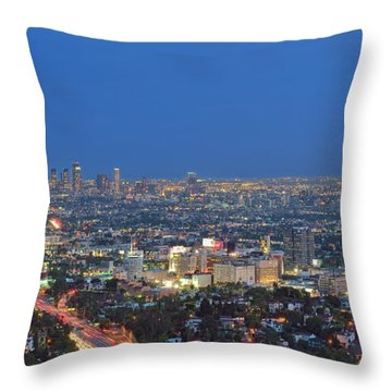 L.a. Skyline Los Angeles Ca Cityscape Night Dusk Lit Lights On 3 Throw Pillow