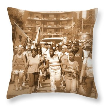 Labor Day Parade Throw Pillow by Valentino Visentini