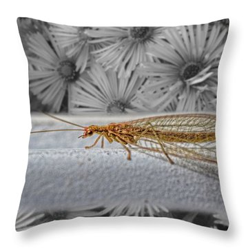 Lacewing Helps In The Garden 2 Throw Pillow by Henry Kowalski